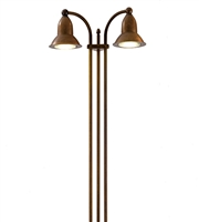 SUN5.2 Akebia Freestanding Two Light Aged Brass Outdoor Floor Lamp by Aldo Bernardi