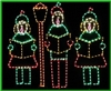 Carolers with Lamp Post 4 Piece Set