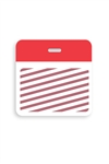 Thermal-printable TIMEbadge Clip-on Backpart. Half Day / One Day.  Red Bar (pms 185) W/ Slot Hole.  Pkg of 500.