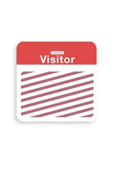 "Thermal-printable TIMEbadge Clip-on Backpart.  Half Day / One Day.  Red ""VISITOR"" W/ Slot Hole.  Pkg of 500."