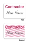 "Manual Expiring TIMEbadge Frontpart ""CONTRACTOR"" One-day Expiration.  Pkg of 1,000."