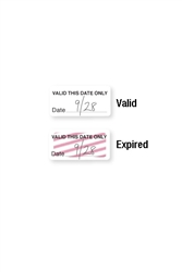 "Self-expiring ""VALID THIS DATE ONLY"" One-day TIMEtoken Indicators.  Pkg of 1,000."