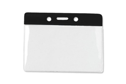 "Black  3 x 3 3/4"" Horizontal Vinyl Color-Bar Badge Holder - Data/Credit Card Size (QTY 100)"
