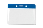 "Royal Blue 3 x 3 3/4"" Horizontal Vinyl Color-Bar Badge Holder - Data/Credit Card Size (QTY 100)"
