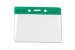 "Green 3 x 3 3/4"" Horizontal Vinyl Color-Bar Badge Holder - Data/Credit Card Size (QTY 100)"