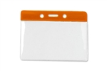 "Orange 3 x 3 3/4"" Horizontal Vinyl Color-Bar Badge Holder - Data/Credit Card Size (QTY 100)"
