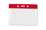"Red 3 x 3 3/4"" Horizontal Vinyl Color-Bar Badge Holder - Data/Credit Card Size (QTY 100)"
