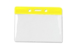"Yellow 3 x 3 3/4"" Horizontal Vinyl Color-Bar Badge Holder - Data/Credit Card Size (QTY 100)"