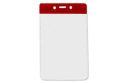 Red  Vertical Vinyl Color-Bar Badge Holder - Data/Credit Card Size (QTY 100)