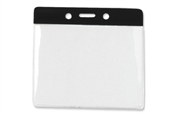 Black Horizontal Vinyl Color-Bar Badge Holder - Extra Large Size (QTY 100)