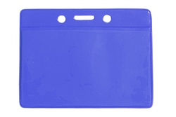 Blue Horizontal Vinyl Badge Holder Credit/Data Card Size (QTY 100)