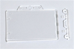 Clear Horizontal Permanent Locking Plastic Card Holder (QTY 100)
