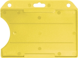 "Yellow horizontal open-face semi-rigid card holder slot & chain holes. Insert size 2 1/8"" x 3 3/8"" (54 x 86mm). Minimum order 100 pieces"