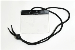 Black Gov't/military Size Horizontal Vinyl Color-bar Badge Holder W/ Neck Cord (QTY 100)