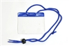 Blue Gov't/military Size Horizontal Vinyl Color-bar Badge Holder W/ Neck Cord (QTY 100)