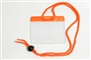 Orange Gov't/military Size Horizontal Vinyl Color-bar Badge Holder W/ Neck Cord (QTY 100)