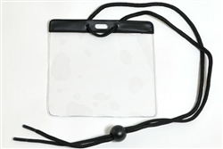 Black Extra Large Size Horizontal Vinyl Color-bar Badge Holder W/ Neck Cord (QTY 100)