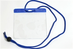 Blue Extra Large Size Horizontal Vinyl Color-bar Badge Holder W/ Neck Cord (QTY 100)