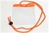 Orange Extra Large Size Horizontal Vinyl Color-bar Badge Holder W/ Neck Cord (QTY 100)