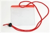 Red Extra Large Size Horizontal Vinyl Color-bar Badge Holder W/ Neck Cord (QTY 100)
