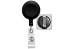 Black Badge Reel W/ Clear Vinyl Strap & Belt Clip (QTY 100)