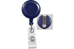 Blue Badge Reel with Clear Vinyl Strap & Belt Clip (QTY 100)