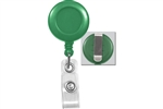 Green Badge Reel with Clear Vinyl Strap & Belt Clip (QTY 100)