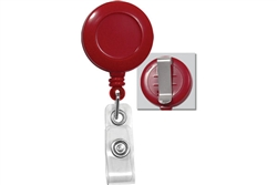 Red Badge Reel W/ Clear Vinyl Strap & Belt Clip (QTY 100)