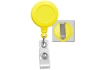 Yellow Badge Reel with Clear Vinyl Strap & Belt Clip (QTY 100)