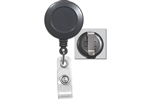 Gray Badge Reel with Clear Vinyl Strap & Belt Clip (QTY 100)