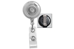 Translucent Clear Badge Reel with Quick Lock And Release Button , Reinforced Vinyl Strap & Slide Type Belt Clip (QTY 100)