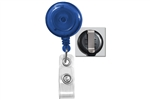 Translucent Blue Badge Reel with Quick Lock And Release Button , Reinforced Vinyl Strap & Slide Type Belt Clip (QTY 100)