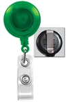 Translucent Green Badge Reel with Quick Lock And Release Button , Reinforced Vinyl Strap & Slide Type Belt Clip (QTY 100)