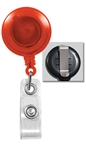 Translucent Orange Badge Reel with Quick Lock And Release Button , Reinforced Vinyl Strap & Slide Type Belt Clip (QTY 100)