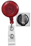 Translucent Red Badge Reel with Quick Lock And Release Button , Reinforced Vinyl Strap & Slide Type Belt Clip (QTY 100)