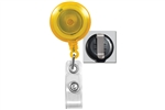 Translucent Yellow Badge Reel with Quick Lock And Release Button , Reinforced Vinyl Strap & Slide Type Belt Clip (QTY 100)