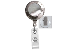 Chrome (Plastic) Badge Reel with Clear Vinyl Strap & Spring Clip (QTY 100)