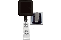 Black  Badge Reel with Clear Vinyl Strap & Spring Clip (QTY 100)