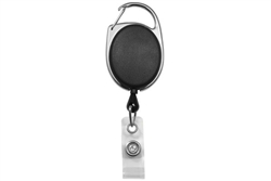 Black Carabiner Badge Reel with Clear Vinyl Strap (QTY 100)