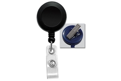 Black Badge Reel with Clear Vinyl Strap & Swivel Spring Clip (QTY 100)