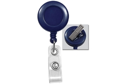 Blue Badge Reel with Clear Vinyl Strap & Swivel Spring Clip (QTY 100)