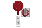 Red Badge Reel with Clear Vinyl Strap & Swivel Spring Clip (QTY 100)