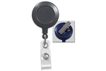 Gray Badge Reel with Clear Vinyl Strap & Swivel Spring Clip (QTY 100)
