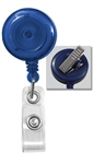 Translucent Blue Badge Reel with Clear Vinyl Strap & Swivel Spring Clip (QTY 100)