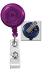 Translucent Purple Badge Reel W/ Clear Vinyl Strap & Swivel Spring Clip (QTY 100)