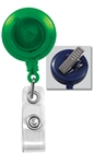 Translucent Green Badge Reel with Clear Vinyl Strap & Swivel Spring Clip (QTY 100)