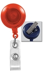 Translucent Orange Badge Reel with Clear Vinyl Strap & Swivel Spring Clip (QTY 100)