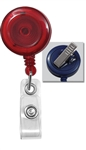 Translucent Red Badge Reel W/ Clear Vinyl Strap & Swivel Spring Clip (QTY 100)