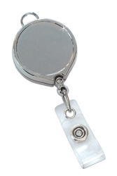 Chrome Metallic  Badge Reel with Clear Vinyl Strap & Belt Clip (QTY 100)