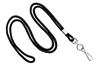 "Black Round 1/8"" Standard Lanyard W/ Nickel Plated Steel Swivel Hook (100 Quantity)"